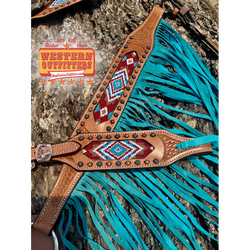 Mesa Headstall and fringe Breast Collar Set