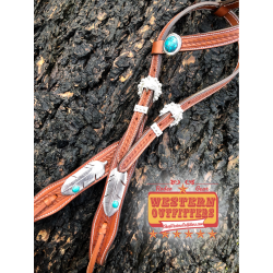 Silver and Turquoise Feather Headstall