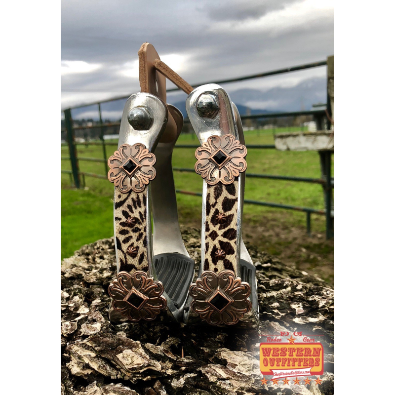 Wagon Wheel Cow Hide Stirrups