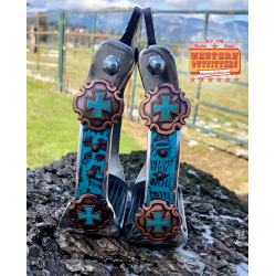McClintock Turquoise and Brown Gator Print Hide Stirrups