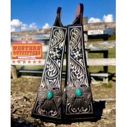 Black Engraved Stirrups with Thunderbird Concho