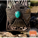Black Engraved Stirrups with Thunderbird Concho