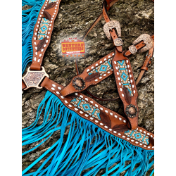 Sedona Fringe Beaded Headstall and Breast Collar Set