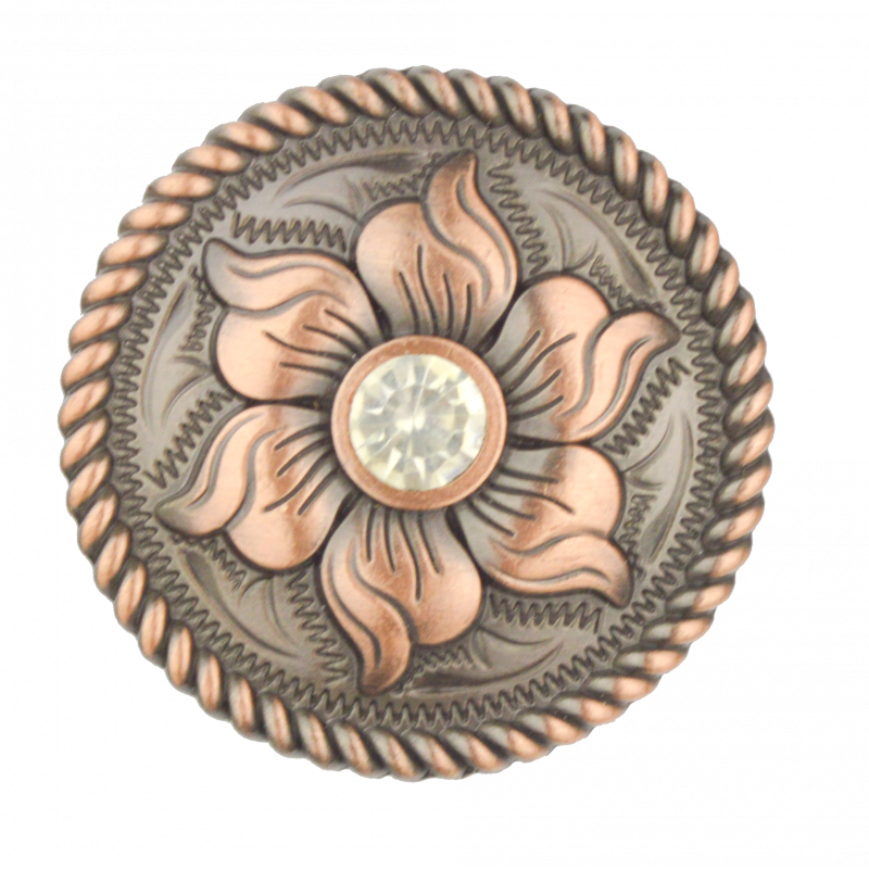 Flower with Clear Bling Stone Concho