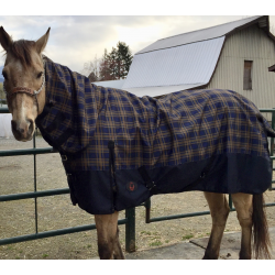 1200 Denier Plaid Waterproof Rain Sheet With Attached Neck
