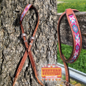 Pink and Turquoise Beaded One Ear Headstall