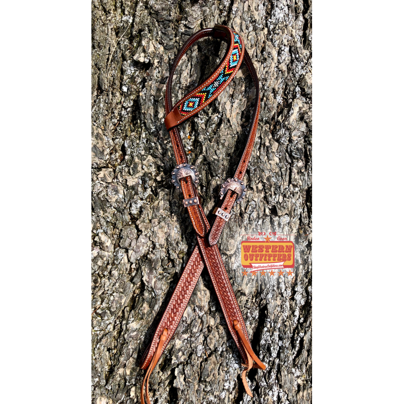 Red, Yelllow, and Blue Beaded One Ear Headstall