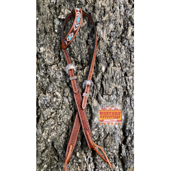Brown and Turquoise Beaded One Ear Headstall