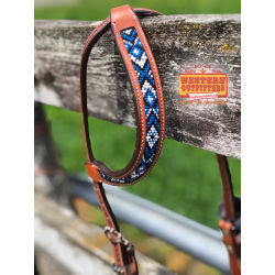 Blue, White and Black Beaded One Ear Headstall