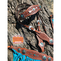 Thunderbird Headstall and Fringe Breast Collar Set