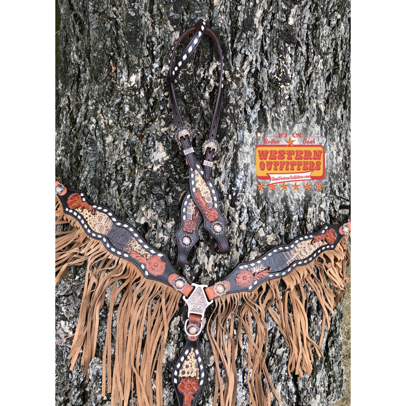 Josie Wales Headstall and Fringe Breast Collar Set