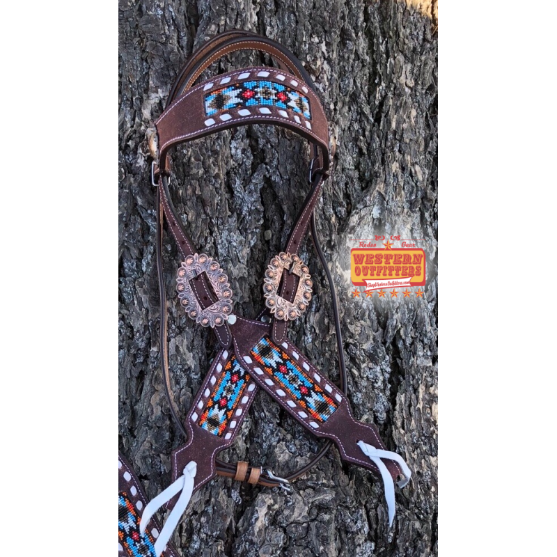 Buffalo Jump Dark Beaded One Ear Headstall