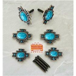 Round Turquoise Diamond Concho
