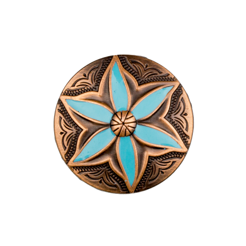 Copper Turquoise Flower Concho