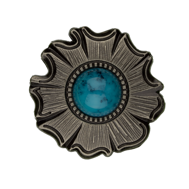 Silver and Turquoise Flower Concho.