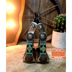 Teal Aztec Print Hide Stirrups