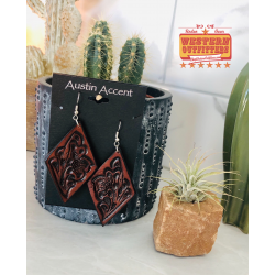 Dark Leather Tooled Earrings
