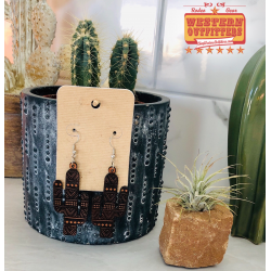 Aztec Cactus Leather Earrings