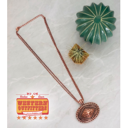 Copper aztec concho necklace