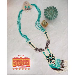 Turquoise and brown beaded...