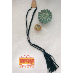 Black Braided Leather Necklace