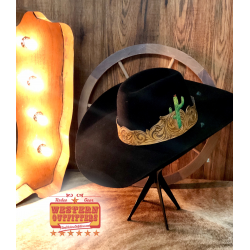 Cactus Tooled Leather Hat Band
