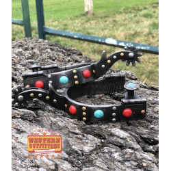 Turquoise and red stone spurs